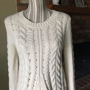 CAbi Sweaters - CAbi lace Up Ivory Cable Knit Sweater  3157 Sz S eca64cd4c